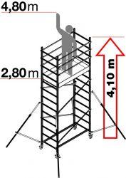 Hliníkové pojízdné lešení ALTO 1+2 pro prac. výšku 4,8 metru FACAL