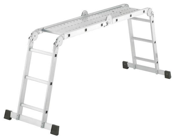 Kloubový žebřík profi 4x3 příčky s hliníkovou plošinou