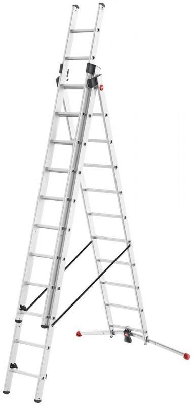 Hliníkový žebřík HAILO profi 3x11 příček s obloukovou patou