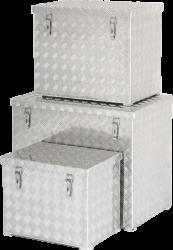Přepravní hliníkový box z rýhovaného plechu s popruhy