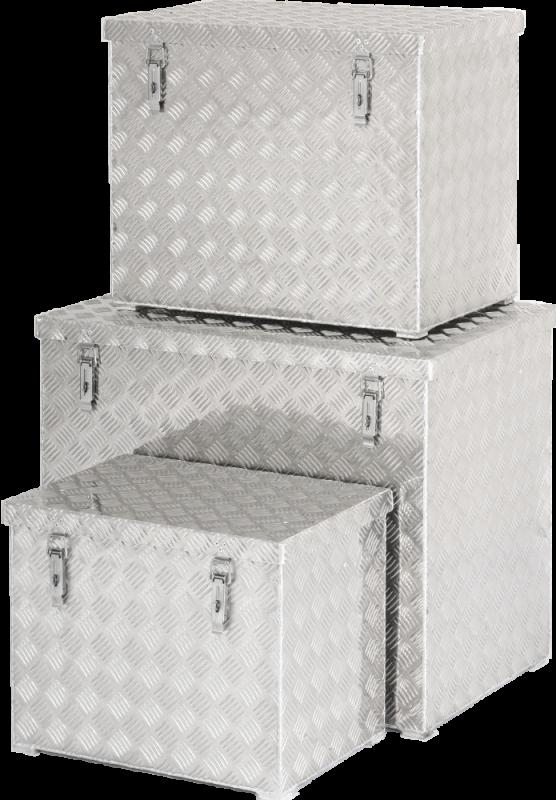 Přepravní hliníkový box z rýhovaného plechu s popruhy Metalconstruct